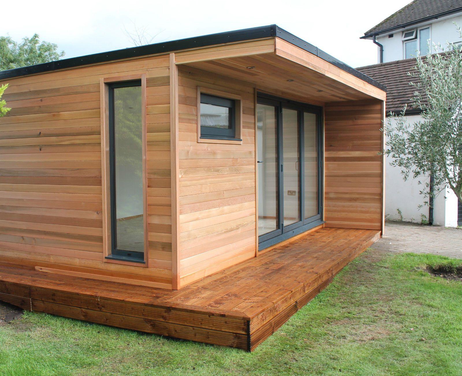 5m X 3m Garden Room Home Office Studio Summer House Log Cabin Chalet Rumah Hijau Desain Rumah Mungil Rumah Kontainer