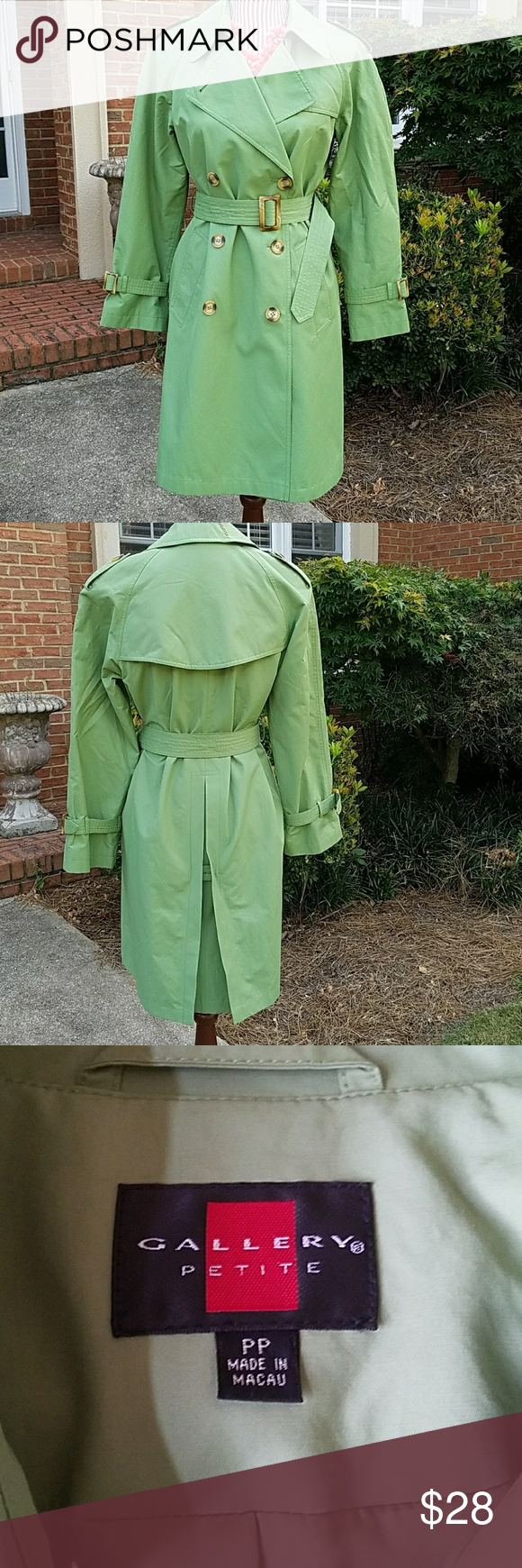 Green Trench Coat Lovely green trench coat with belt and adjustable sleeve buckles. Slit in the back and button details on shoulders. Pockets. Fully lined. Worn once. Excellent condition. Size says PP. Bust: 19.5, Length: 35 inches. 65% Cotton, 35% Nylon. Add to bundle to save! Gallery Jackets & Coats Trench Coats