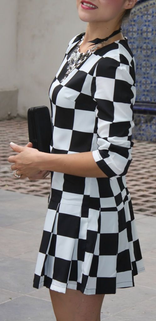 Black White Plaid Long Sleeve Chiffon Dress Long Sleeve Chiffon Dress Dresses Dresses For The Races