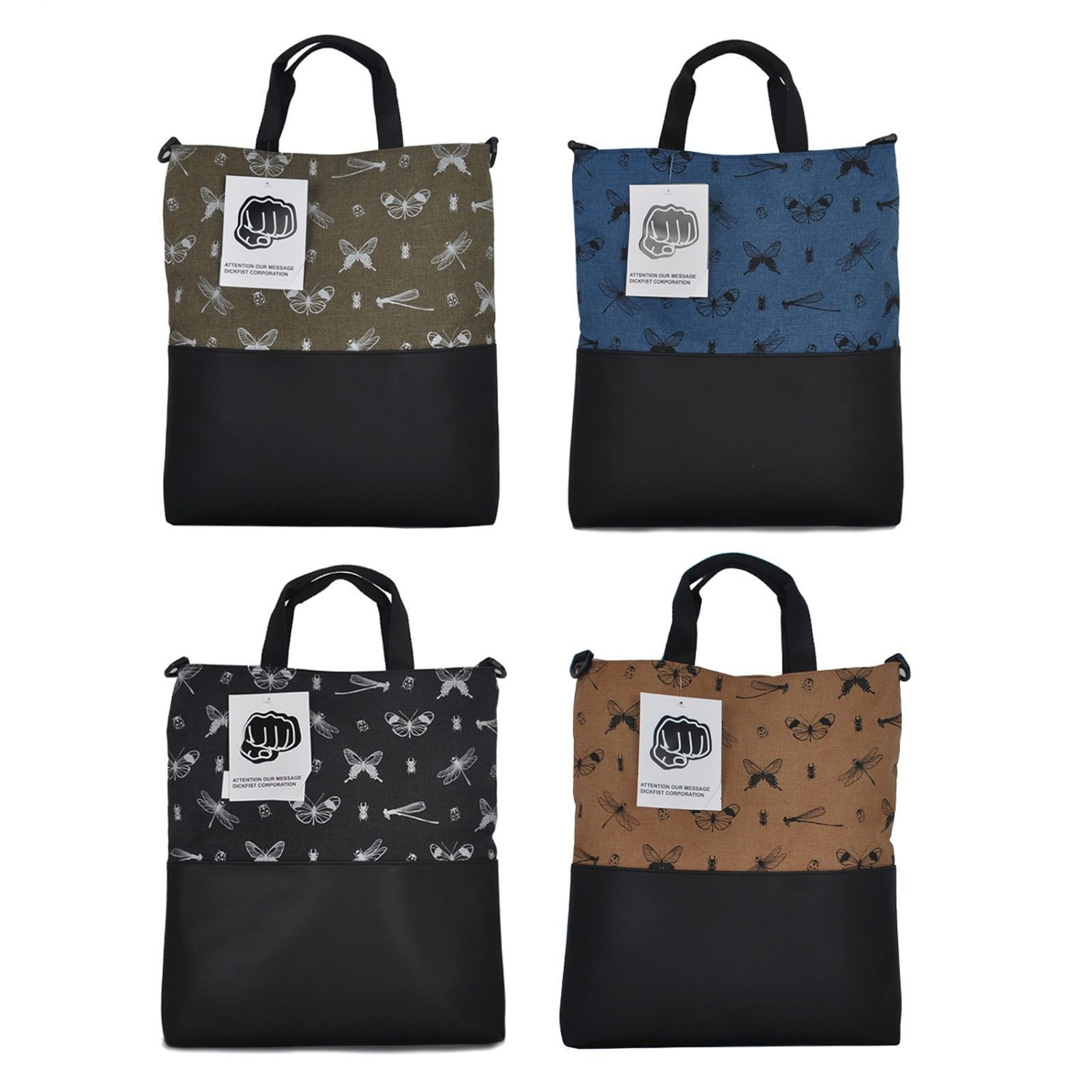 Faux Leather Fabric Shoulder Tote Per Bag Purse Insect Print School Work