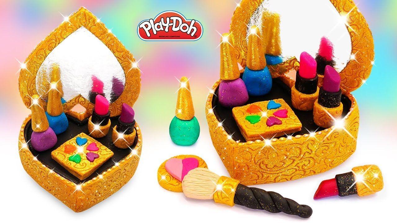 Play Doh Makeup Cosmetics Set. How to Make Makeup Box DIY
