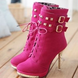 Rivet Buckle Decorated Lace-up Side Zipper Boots Red on Chiq  $16.22 http://www.chiq.com/wholesale-dress-net/rivet-buckle-decorated-lace-side-zipper-boots-red