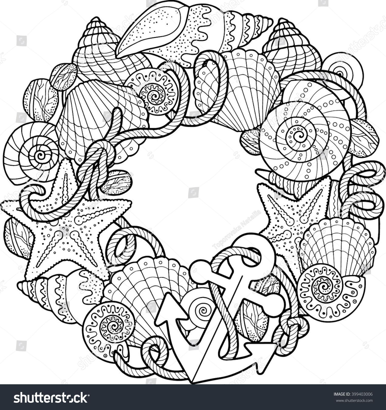 Round frame made of shells. Coloring pages. Vector ...