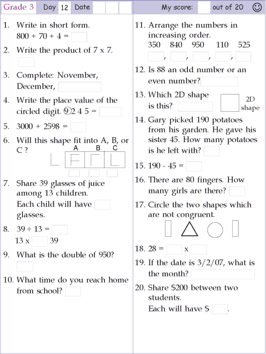 Mental Math Grade 3 Day 12 Mental Math Preschool Math Games