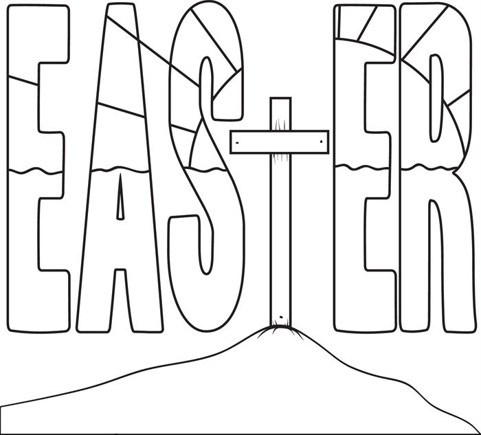 Easter Cross Coloring Page Coloring pages for kids