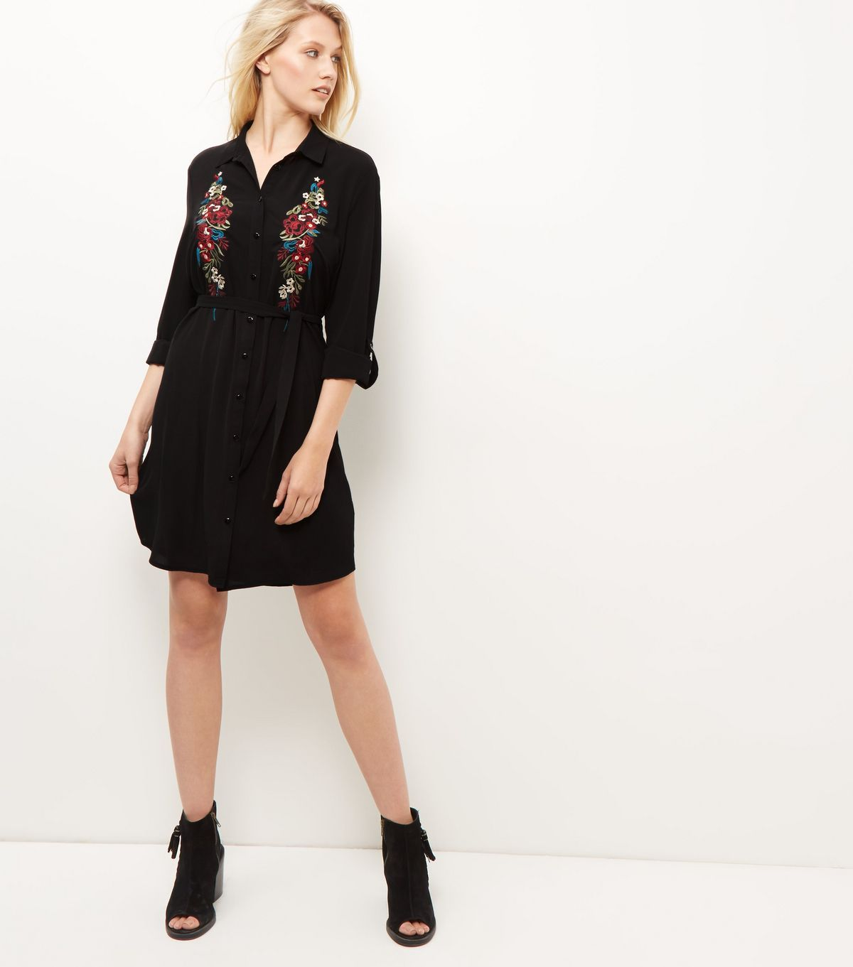 Black embroidered roll sleeve shirt dress new look fashion
