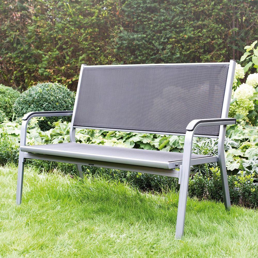Gartenbank Wetterfest Aluminium Kettler Basic Plus 2er Silber