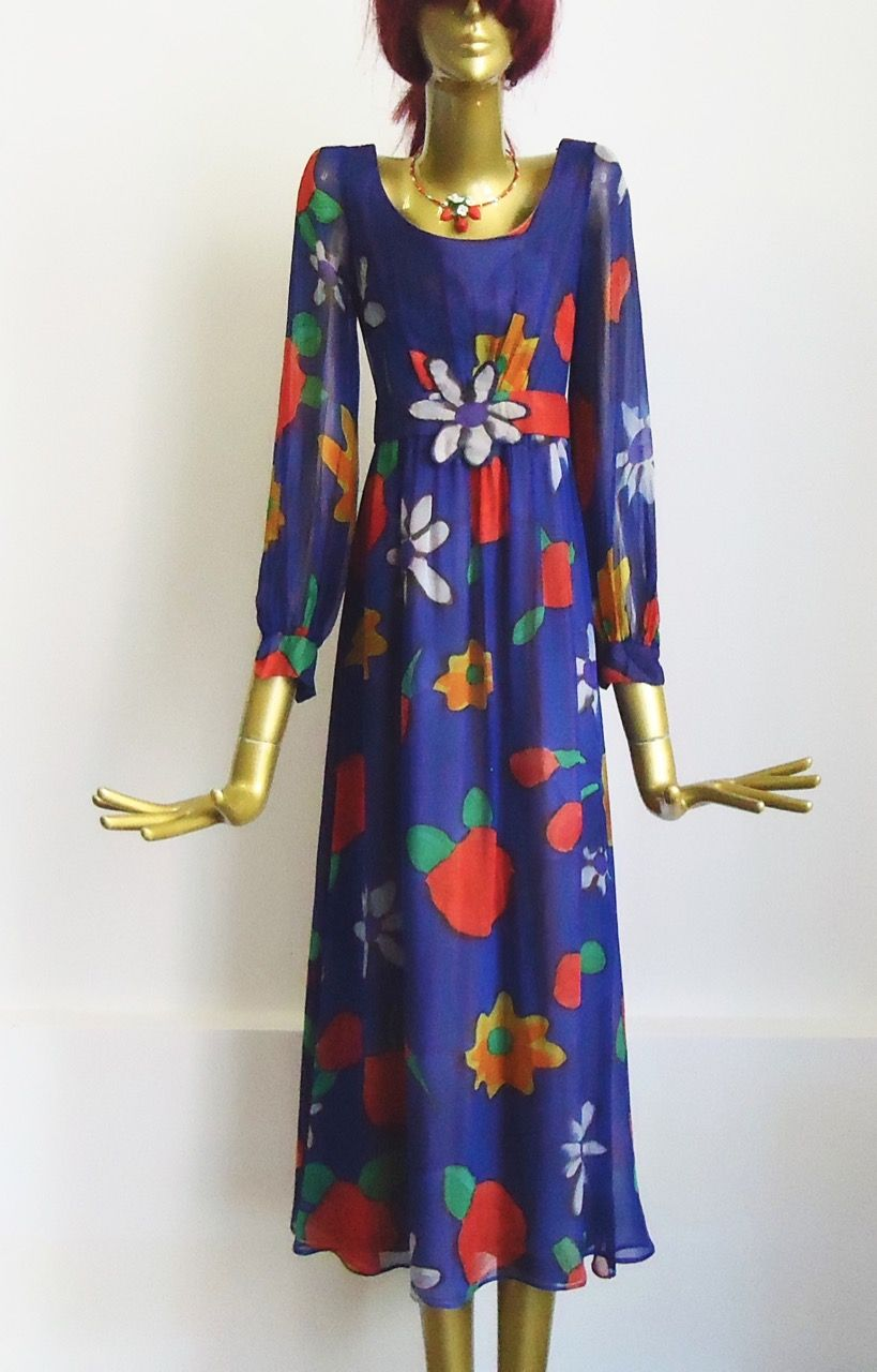 Vintage Kleid Blau Blumen 70er Jahre Mode Kleider