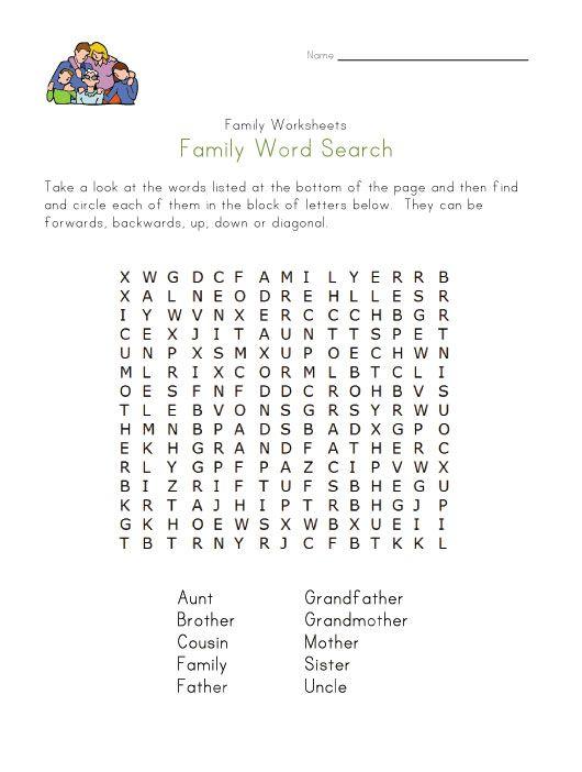 Family member word search | Work. | Pinterest | Schule