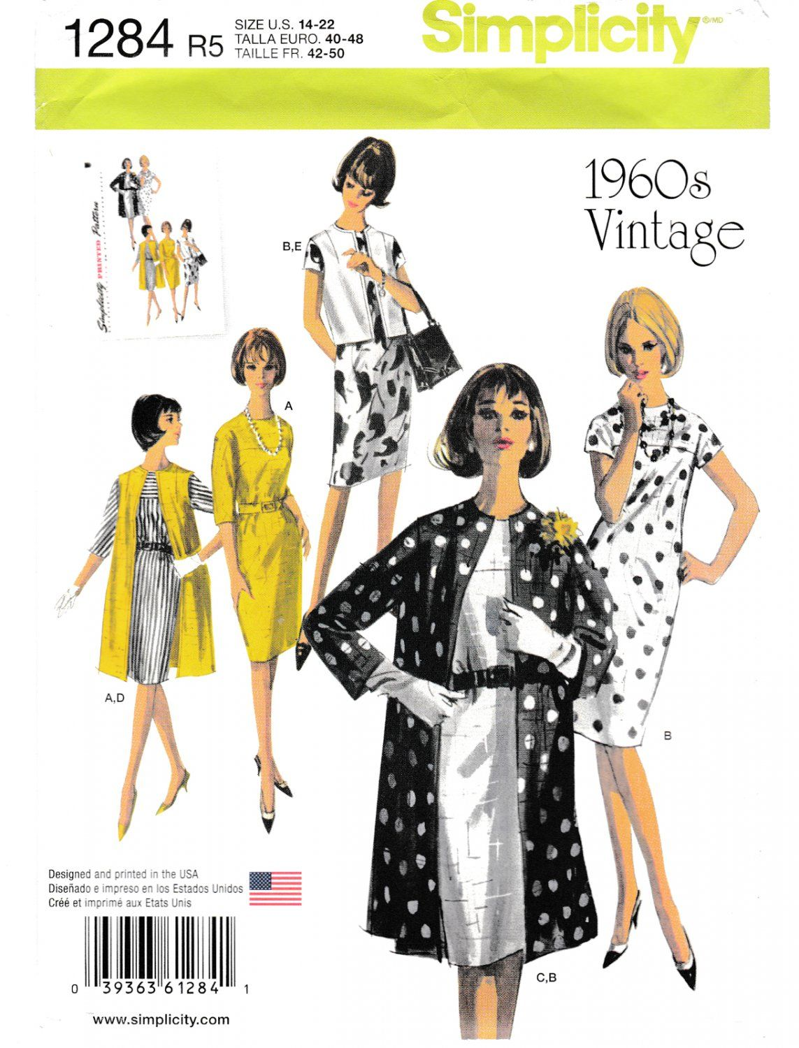 14-16-18-20-22 Various, Coat /& Vest in Two Lengths Simplicity Sewing Pattern 1284: Misses Vintage 1960s Dress Size R5
