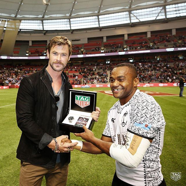 Great evening at the HSBC @worldrugby Sevens Series on behalf of the Official Timekeeper @TAGHeuer. The TAG Heuer Aquaracer Calibre 5 was gifted to the player with the #DontCrackUnderPressure moment of the final match, congrats Alasio Sovita Naduva!!chrishemsworth