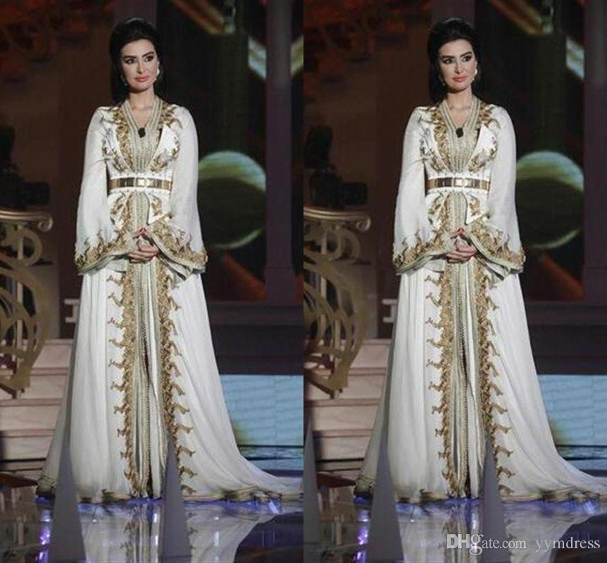 f179a99b26 Moroccan Caftan Kaftan Evening Party Wear Dresses Dubai Abaya Arabic Long  Sleeve Amazing Gold Embroidery V-neck Occasion Prom Formal Gowns