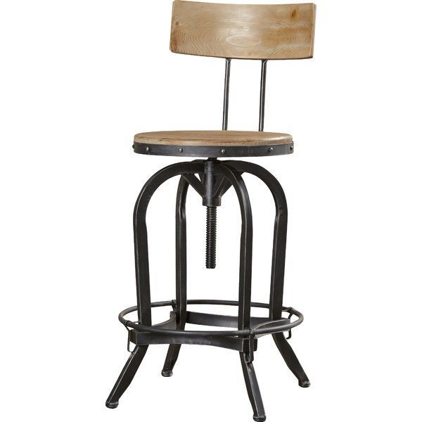 Oria Adjustable Height Swivel Bar Stool is part of home Bar Seating - Outfit the home bar or accent your favorite seating group with this essential stool, perfect in the parlor or den