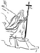 Moses Walking With Bronze Serpent Coloring Page Bible Coloring