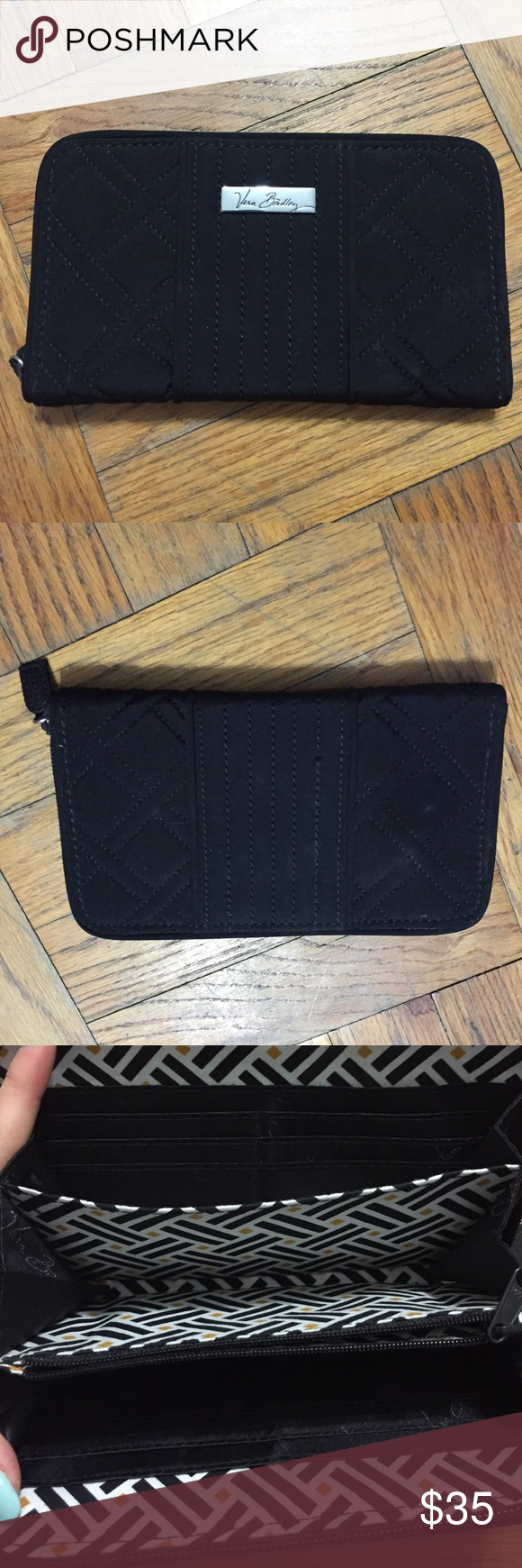 Large Zip-Around Wallet in Classic Black Large Zip-Around Wallet in Classic Black Vera Bradley Bags Wallets
