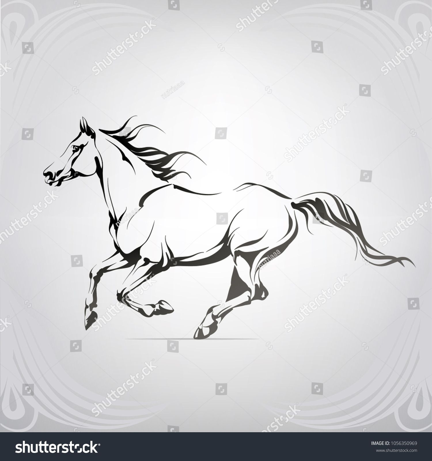 Vector Silhouette Of A Running Horse Horse Silhouette Horse