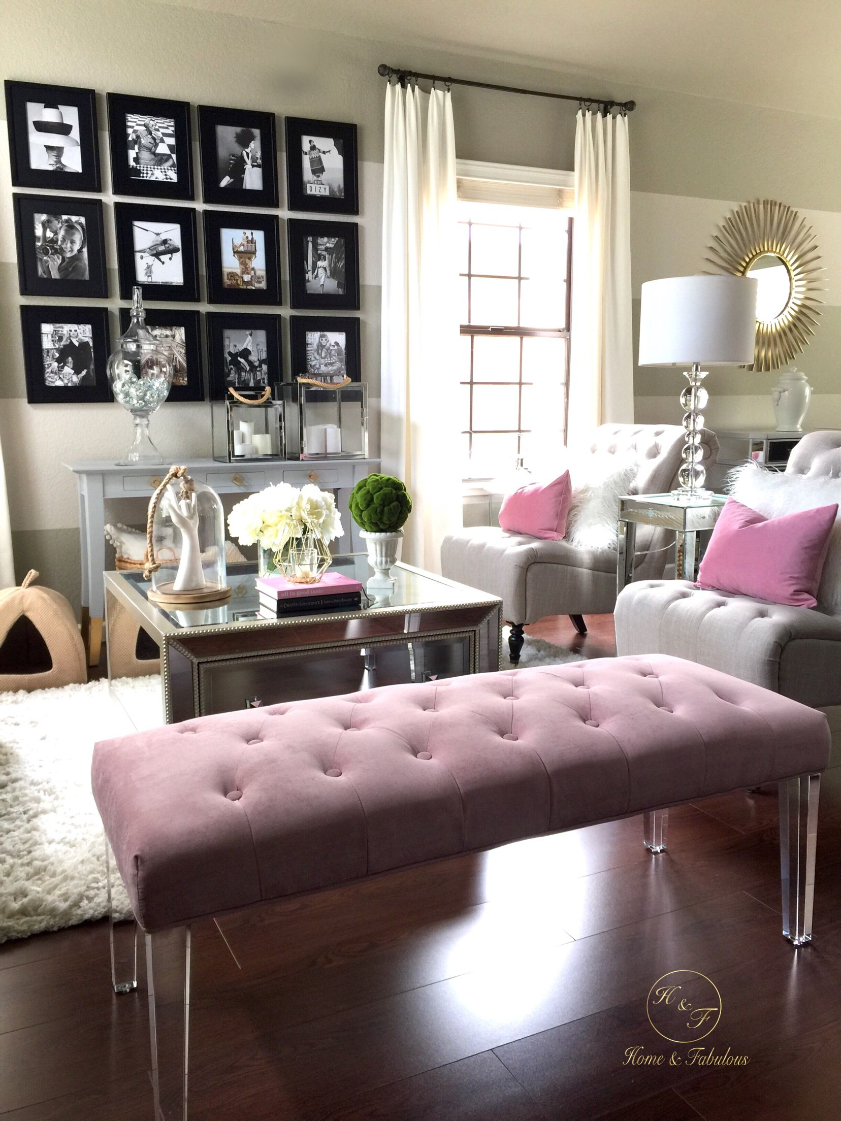 This pink tufted bench from HomeGoods really makes my living room ...
