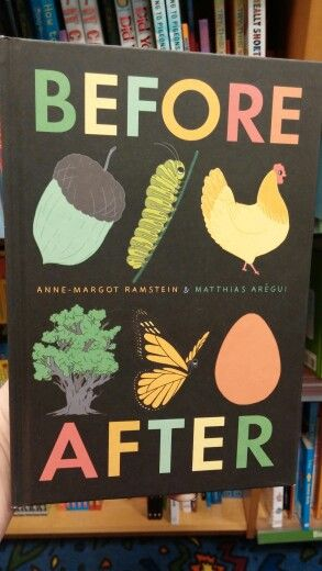 """This is a book of different plants and animals in their """"before and after"""" stages. There are no words, only pictures. Perfect for a classroom library for pre k - 4"""