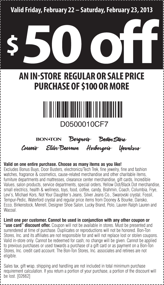 image about Elder Beerman Printable Coupons referred to as $50 off $100 at Bon Great deal, Bergners, Boston Retailer, Carsons