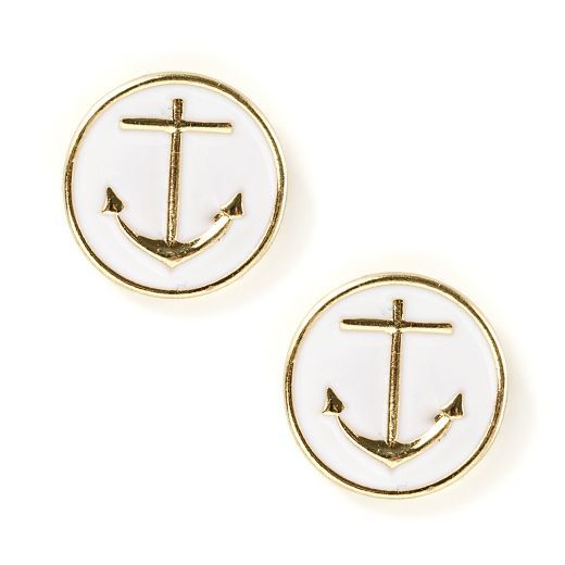 Oversized Anchor Button Stud Earrings | Icing