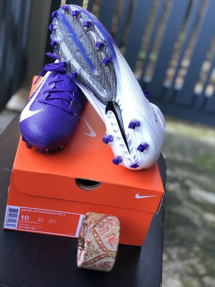 Nike vapor untouchable pro 3 football cleats white purple