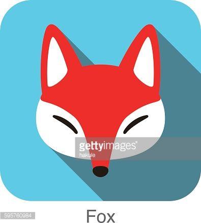 Red Fox Cartoon Face Flat Icon Design Con Imagenes Zorro Rojo