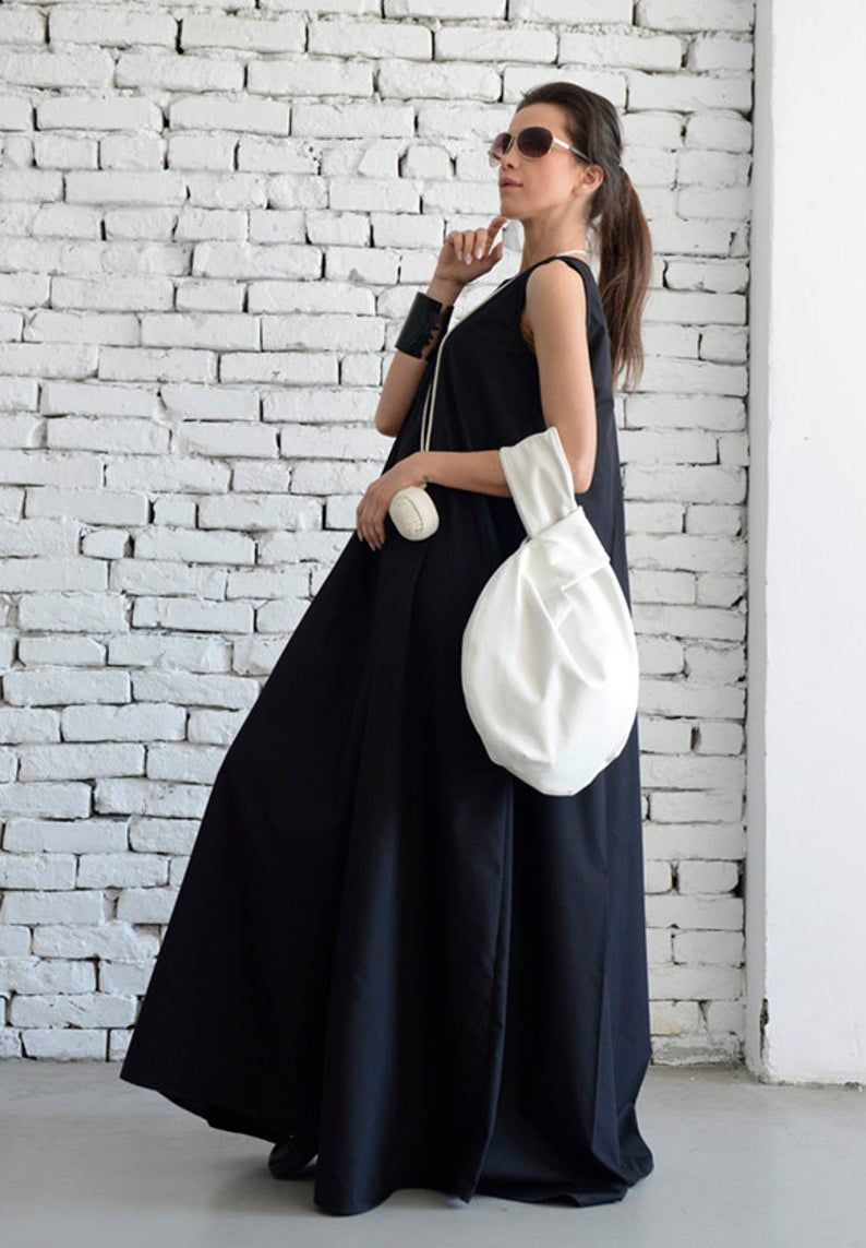 Schwarze Maxi Kleid/Loose langes Kleid/Plus Größe Kaftan ...
