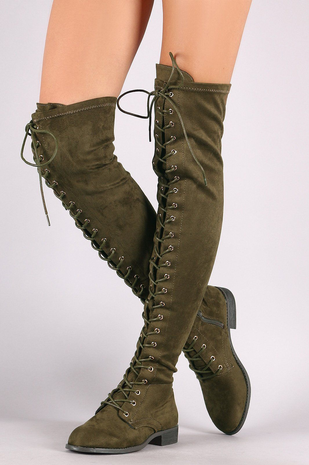 Wild Diva Lounge Suede Lace Up Over-The-Knee Combat Boots in 2019 ... 09afc668df2