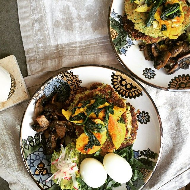Sundays are made for home cooked breakfast with fresh market produce. Today's cook up was zucchini fritters, spiced chicken, garlic mushrooms with guacamole and soft boiled eggs. Seasonally inspired and absolutely delish!