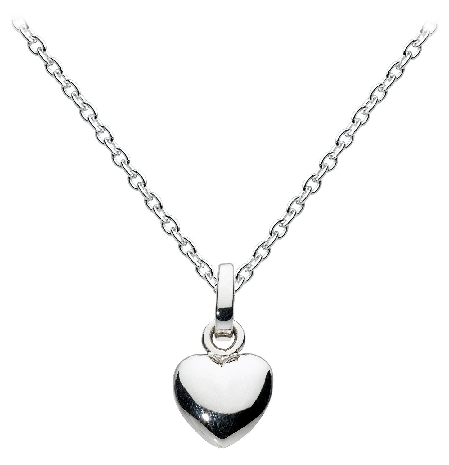 Dew Sterling Silver and Freshwater Pearl Open Heart Necklace of Length 45.7cm 4rM0bsr