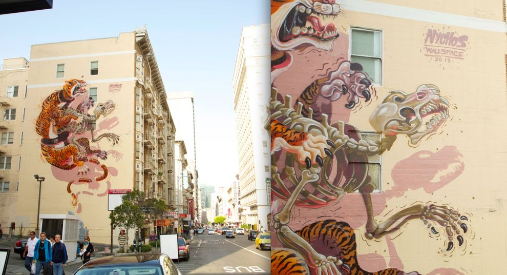 Nychos\' anatomy of a tiger in San Francisco.   Best Street Art In ...