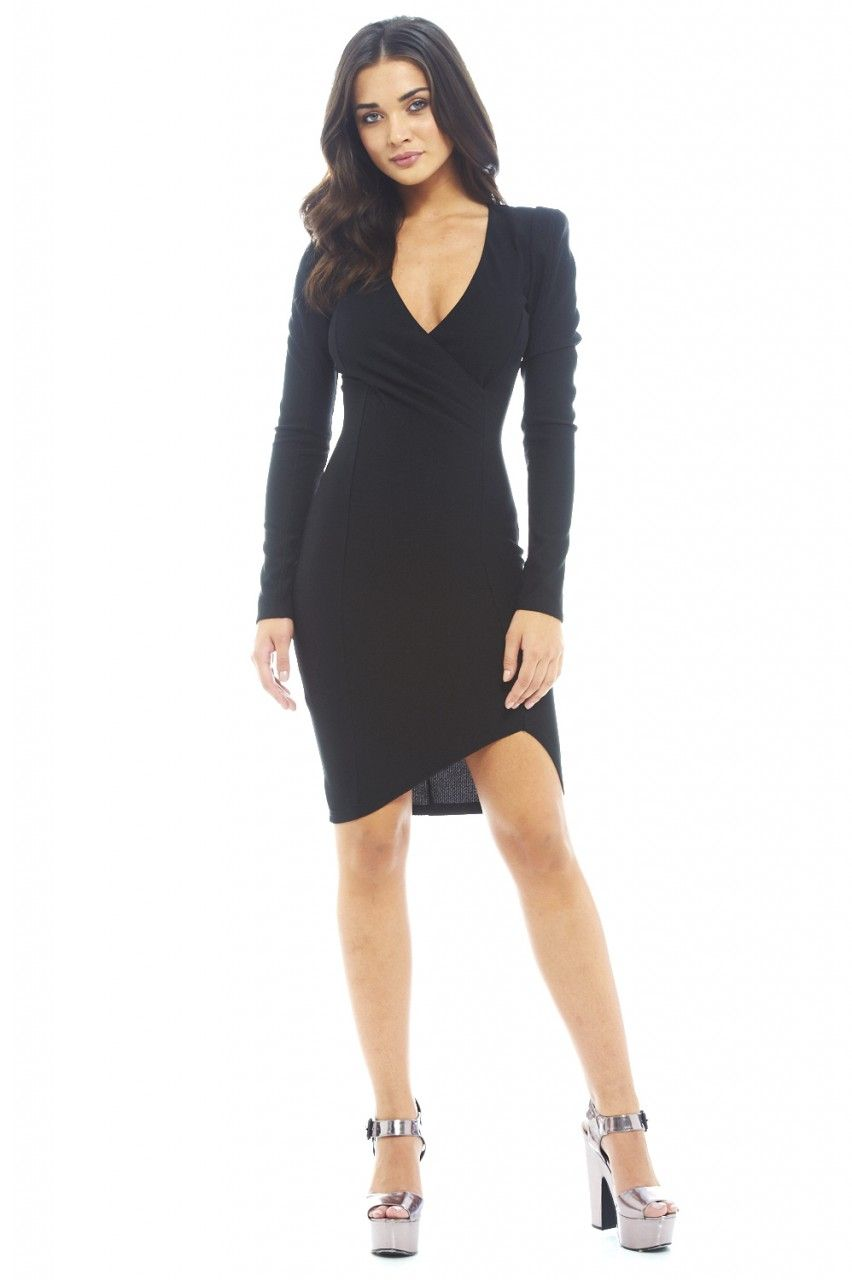Long Sleeve Wrap Front Midi Dress - AX Paris Estélyi Ruha cca89aa9a3
