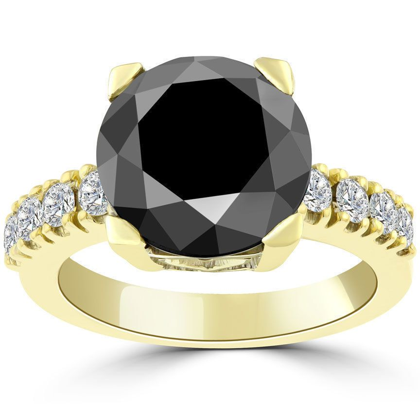 $7950 5.75 Carat Certified Natural Black Diamond Engagement Ring 18k Yellow Gold #SolitairewithAccents
