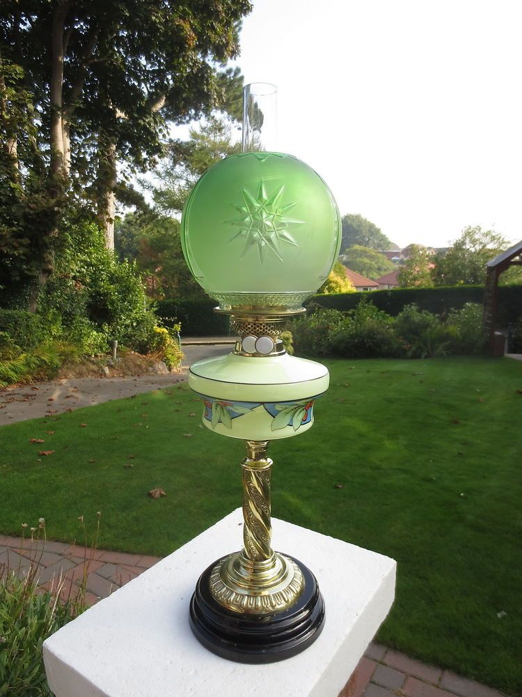 VICTORIAN DUPLEX TABLE OIL LAMP COMPLETE WITH ORIGINAL GREEN OIL LAMP  SHADE #Victorian #Lamps