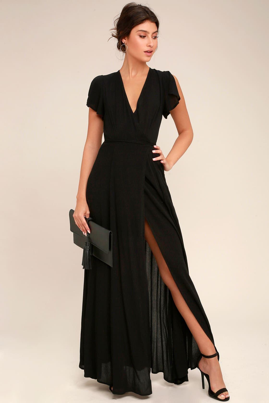 Heart Of Marigold Black Wrap Maxi Dress In 2020 Maxi Dress Maxi Wrap Dress Black Wrap Dress [ 1680 x 1120 Pixel ]
