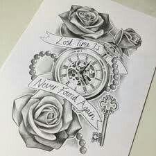 Clock Tattoo Design Compass A Designs Ideas Vintage Tattoos Clocks Clockwork