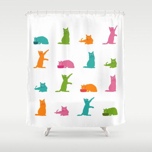 Multicolor Cat Shower Curtain White Cute Bathroom Decor Lo