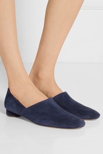 313f4ee73 Heel measures approximately 30mm/ 1.5 inches Navy suede Slip on Made in  Italy Small to size. See Size & Fit notes.As seen in The EDIT magazine