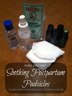 Make your own postpartum padsicles with this simple recipe -- great for healing sore parts after birth. Plus, try the natural perineum spray recipe!
