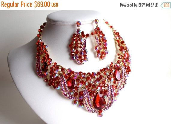 ON SALE Red Statement Necklace Wedding by WhiteAisleBoutique