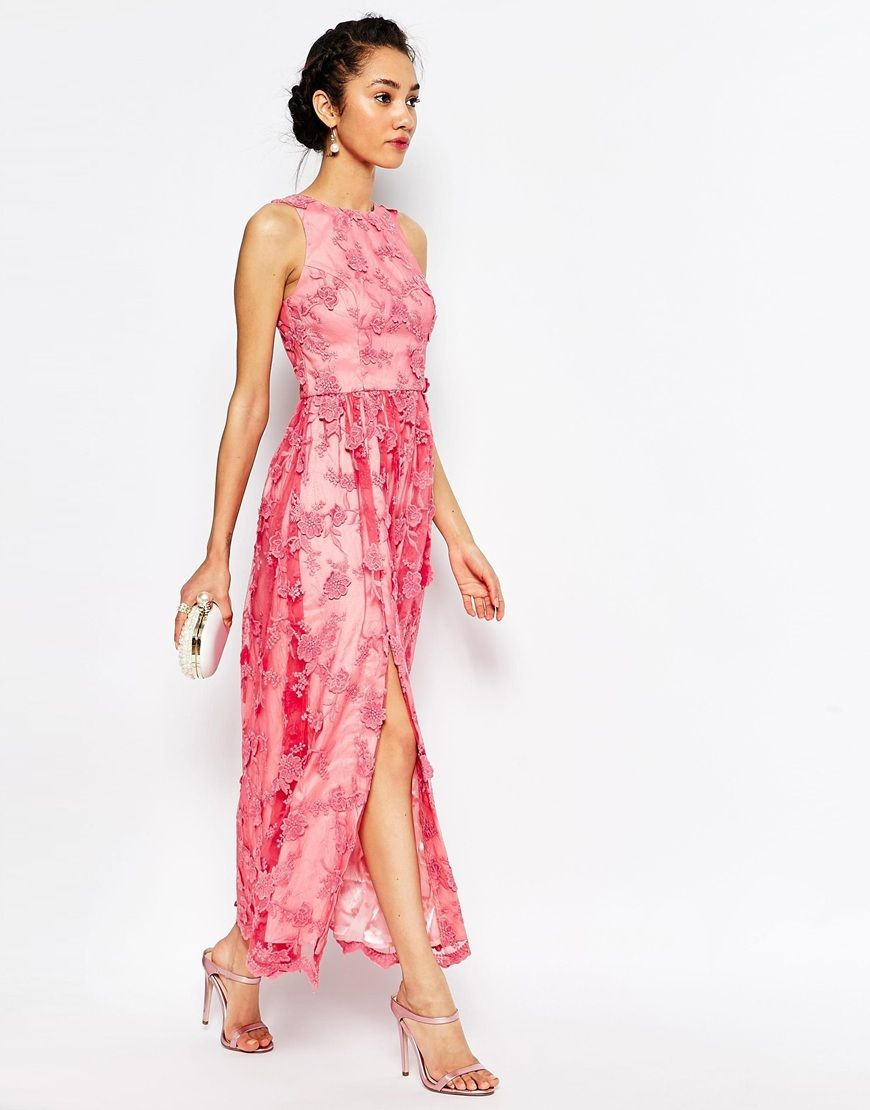 Image 4 of Chi Chi London Petite Embroidered Halter Neck Maxi Dress ...