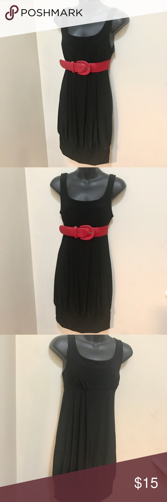 Nwt maurices black dress smallmed red belt tank shirt and