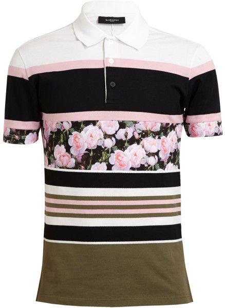 e52173874 Givenchy Floral Striped Cotton Polo Shirt  Lyst