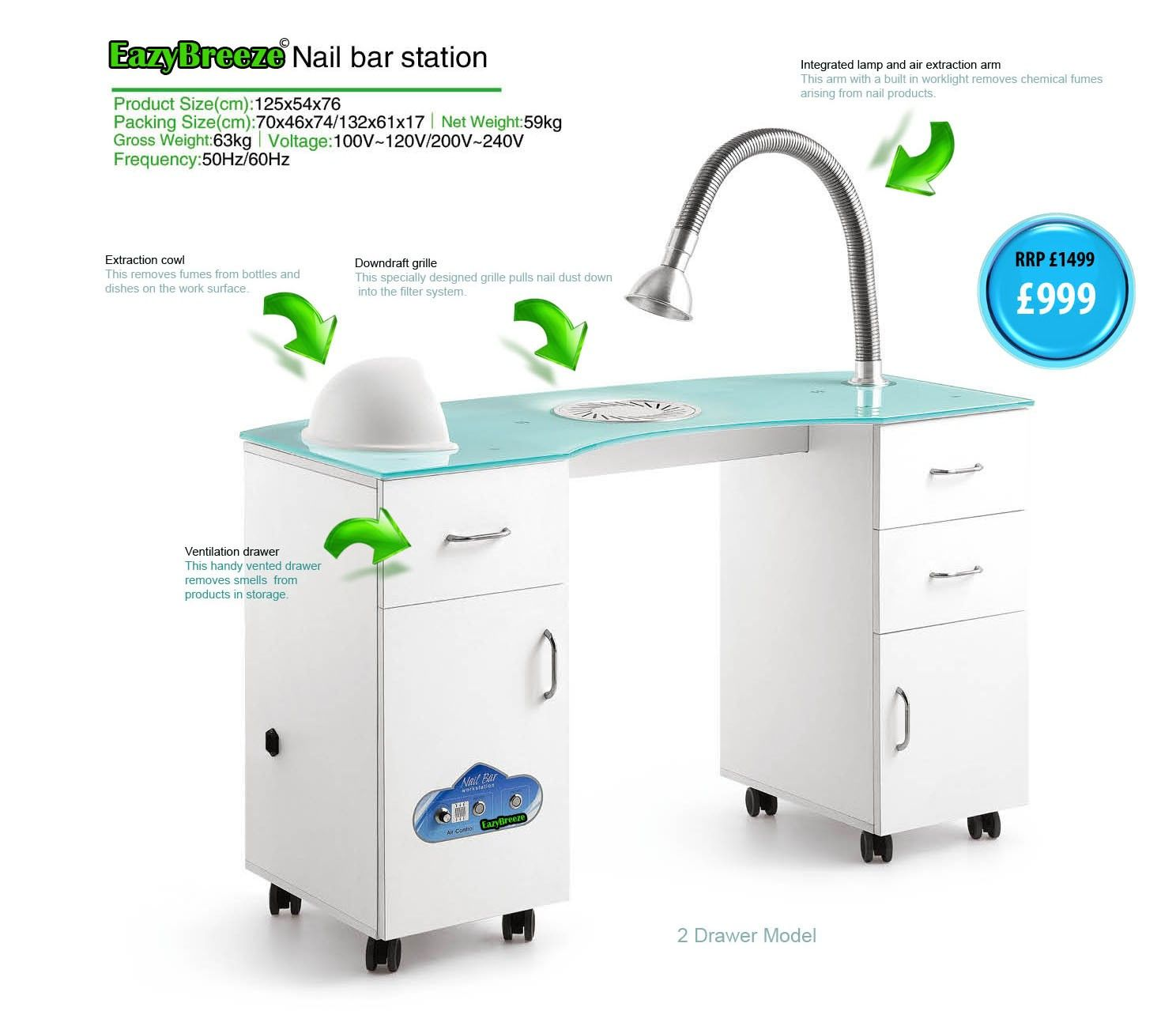 vented nail station EazyBreeze© 4 FILTRATION Ventilated