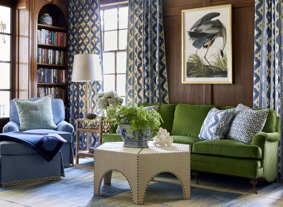 Blue Loves Green Mark D Sikes Chic People Glamorous Places Stylish Things Living Room Green Family Room Home Decor