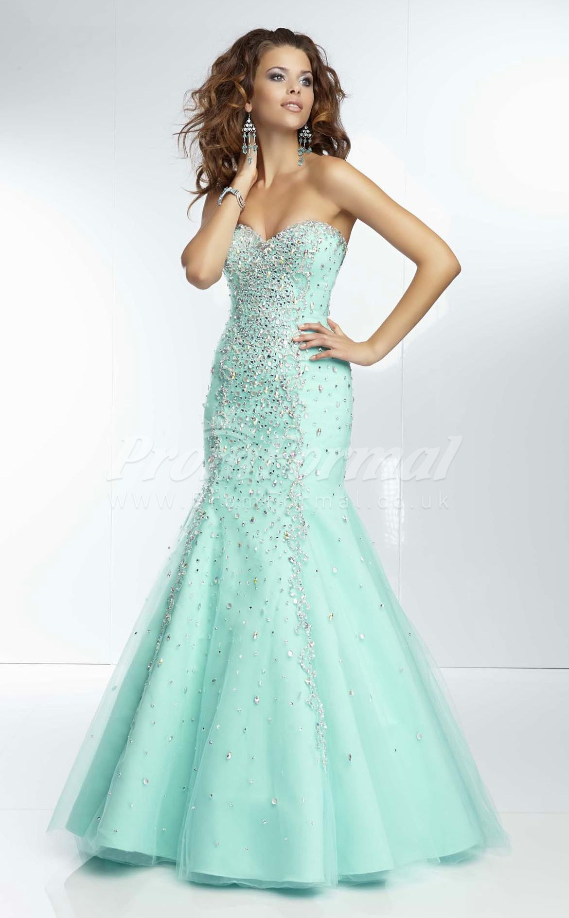 Tulle Mermaid Sleeveless Prom Dress with Beading and Sequins ...