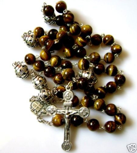 Valuable .Precious .Gorgeous.Rare Sterling 925 Silver Beads & Tiger Eye ROSARY & CROSS (+gift box)   53 Natural Tiger Eye Beads : 8mm   6 Sterling