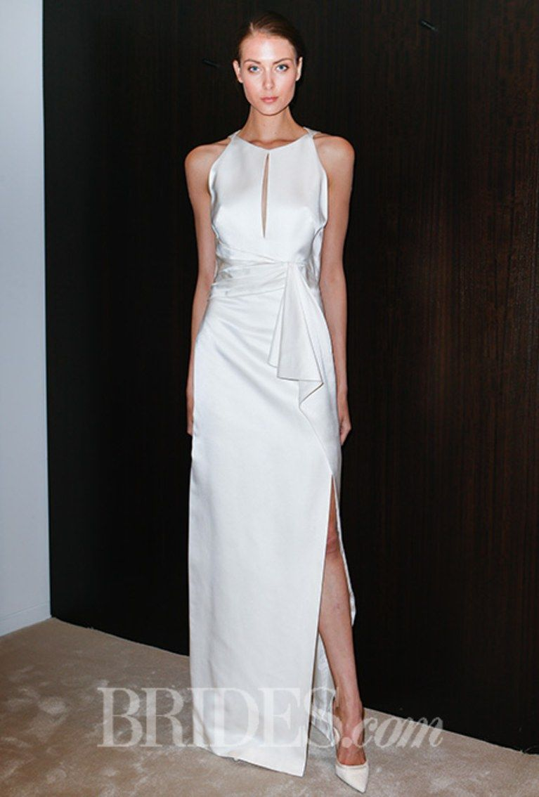 Silk sheath with high neck slit at the neckline and high slit at