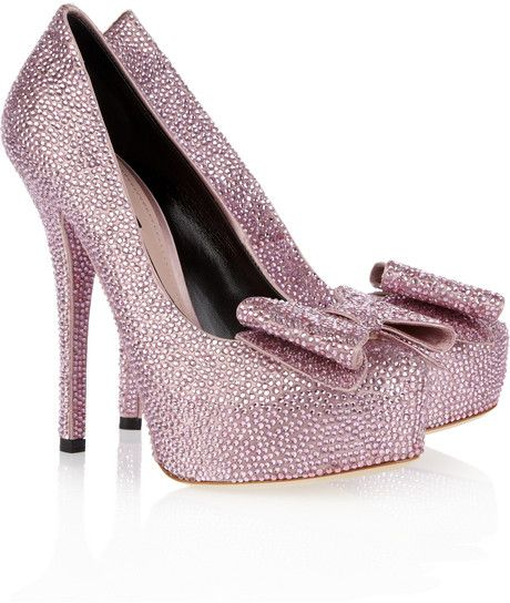 DOLCE & GABBANA     SOMEWHERE OVER THE RAINBOW   Crystal-embellished Satin Pumps