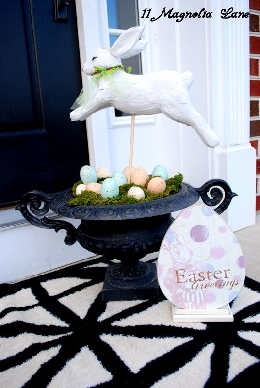 30 Amazing Easter Porch Decor Ideas : 30 Amazing Easter Porch Décor Ideas With White Door Rabbit And Orange And Blue Easter Eggs Decor In Bl...